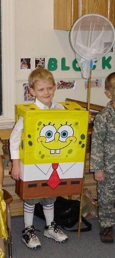 Homemade Halloween DIY Spongebob Squarepants Costume out of a box!