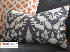 """18 x 18"""" Pillow Cover - Schumacher Cheonceau in Charcoal. $70.00, via Etsy."""