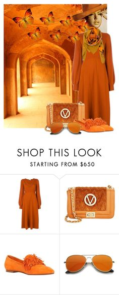 """Monochrome - Burned Orange"" by andreamilles on Polyvore featuring Chloé, Mario Valentino, Aquazzura and Klements"