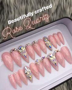 Rose quartz swarovski crystal set in 2020 Swarovski Nails, Crystal Nails, Swarovski Crystals, Glam Nails, Cute Nails, Nail Crystal Designs, Rose Quartz Nails, Press On Nails, Cute Nail Designs