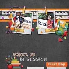 School's in Session - Digi Education Domination School Scrapbook Layouts, Scrapbook Designs, Scrapbooking Layouts, Scrapbook Pages, Digital Scrapbooking, School Sports, Scrapbooks, Back To School, Kit