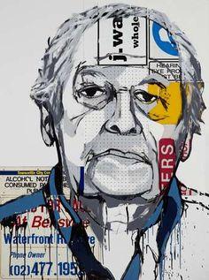 Archibald Prize Archibald 2010 finalist: Bill Wright AM by Jasper Knight Contemporary Australian Artists, Art Terms, Knight Art, Arts Award, A Level Art, Recycled Art, Recycled Materials, High School Art, Face Art