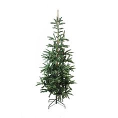 The Holiday Aisle Pre-Lit Layered Noble Green Fir Artificial Christmas Tree with 250 Warm Clear LED Lights with Stand
