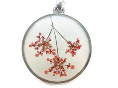 Queens annes lace flowers pendant pressed by AmazoniaAccessories, €19.00