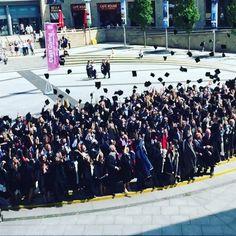 SLOW MOTION VIDEO: @createatsalford graduates throw their hats in the air #SalfordGrad
