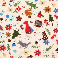 cream Red Riding Hood fairy tale fabric Timeless Treasures - Fairy Tale Fabric - Fabric - kawaii shop modeS4u