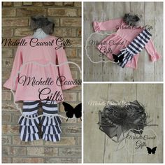 Monogram Outfit, Monogrammed Outfit, Valentine Outfit Boutique, Pink Gray Ruffle Outfit, Girls, Toddler Outfit, 18M, 2T, 3T, 4T, 5, RTS Grey by MichelleCowartGifts on Etsy