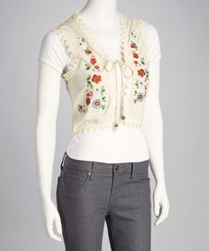 Take a look at this Cream Embroidered Flower Vest by Funky People on #zulily today!