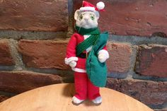Vintage Christmas Ornament  Felt Mouse in Red Santa Suit