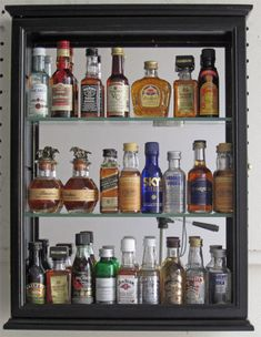 SOLID WOOD, Mini Liquor Bottle Display Case Cabinet Shadow Box, CD06B - for the bar