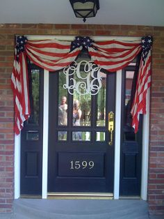 Southern Front door for 4th of July and other patriotic celebrations 4th Of July Wreath, Fourth Of July, Valance Curtains, Wreaths, Doors, Diy, Home Decor, Slab Doors, Build Your Own