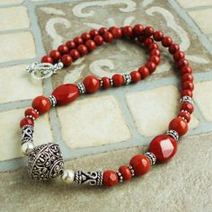 Red Jasper Necklace Artisan Metal Natural Red by mamisgemstudio, $39.95