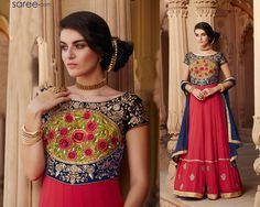 RED AND BLUE GEORGETTE ANARKALI SUIT WITH EMBROIDERY WORK   #Salwarsuit #Anarkali #Anarkalisalwarsuit #Redsalwarsuit #Redanarkali #Red #salwarkameez #salwar #suit #Fashionindia #Indianfashion