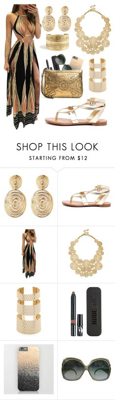 """""""bohemian golden princess"""" by elizacecelia ❤ liked on Polyvore featuring Gas Bijoux, Breckelle's, Sole Society, MVP, Nudestix, Christian Dior and Ella Moss"""