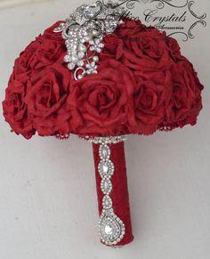 Broche Bouquet Rouge, noir rouge Bouquet de mariée, bouquet rouge et perle, vin mariage broche Bouquet