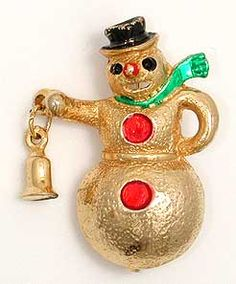 Heavy Gold Metal Snowman Christmas Brooch Vintage Costume Jewelry