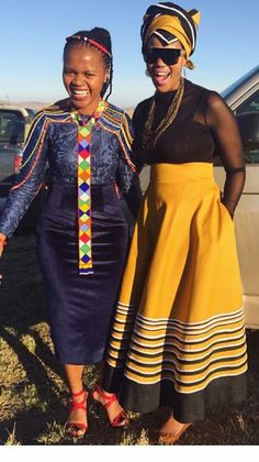 Ingredients for a memorable story Smiles Beads and colour Good friends Xhosa Attire, African Attire, African Wear, African Women, African Print Dresses, African Print Fashion, Africa Fashion, African Fashion Dresses, African Traditional Wedding