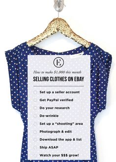 How to Make $1,000 This Month Selling Your Clothes on eBay (via Bloglovin.com )