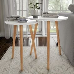 Nesting End Tables Mid-Century Modern Wood Contemporary Accent Tables with Circular Top by Lavish Home, White, Trademark Nesting Tables, Contemporary Decor, Table, End Table Sets, Mid Century Modern Wood, Contemporary Accent Tables, Lavish Home, Nesting End Tables, Accent Table