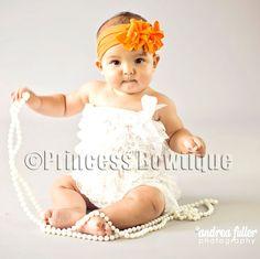 Orange Frilly all Nylon Infant Band