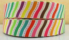 ♥ Rainbow Stripe 7/8 Inch Width 22mm Grosgrain Ribbon ♥