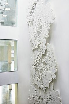 details for white, subtle Conscious Twin inside the head space Wall Sculptures, Sculpture Art, Lobby Design, Lighted Canvas, Decorative Panels, Fused Glass Art, Public Art, Wall Design, Art Decor