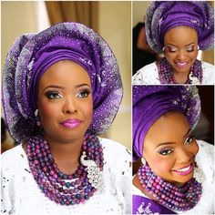 purple silver sparkly gele nigerian bride wedding  ~Latest African Fashion, African Prints, African fashion styles, African clothing, Nigerian style, Ghanaian fashion, African women dresses, African Bags, African shoes, Nigerian fashion, Ankara, Kitenge, Aso okè, Kenté, brocade. ~DKK