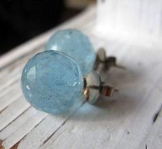 Natural Aquamarine Earrings Stud Earrings by HotRoxCustomJewelry