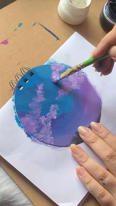 Art Painting Gallery, Mirror Painting, Painting Videos, Small Paintings, Dorm Paintings, Cloud Drawing, Watercolor Art Lessons, Dark Art Drawings, Hand Art