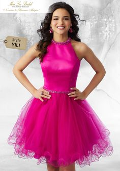 Shop Morilee's Satin and Tulle Party Dress with Beaded Trim. Satin and Tulle Damas Dress with Beaded Neckline and Waistline Trim. An Open Keyhole Back Completes the Look Dama Dresses, Quinceanera Dresses, Homecoming Dresses, Short Dresses, Girls Dresses, Sweet 16 Dresses, Super Cute Dresses, Pretty Dresses, Toga Dress