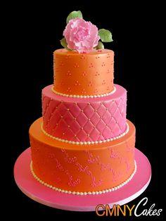 Orange and pink wedding cake. Pretty Cakes, Cute Cakes, Beautiful Cakes, Amazing Cakes, Wedding Cake Photos, Wedding Cakes, Orange And Pink Wedding, Orange Yellow, Indian Cake