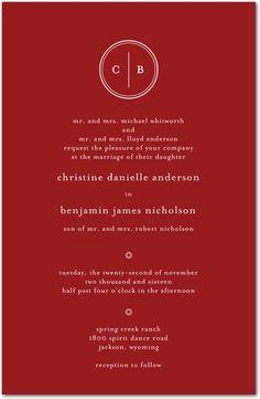 Solid Monogram - Signature White Wedding Invitations - Sarah Hawkins Designs - Rich Red - Red : Front