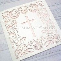 CHRISTENING LASER CUT CARDS CLA112 WHITE (CRYSTAL)