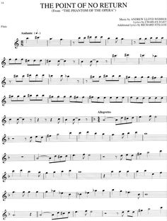 Online flute sheet music - Phantom of the Opera