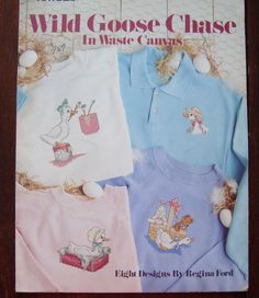 Counted Cross Stitch Patterns/Vintage Leisure Arts 673, Wild Goose Chase in Waste Canvas/ 8 Designs by Regina Ford/ Geese/ Bunny/ Teddy Bear by RedWickerBasket on Etsy