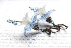 Romantic Earrings, Shabby Chic, Floral Spring Blossoms, Lucite Flower,Vintage Brass, Boho Chic, Modern Earrings