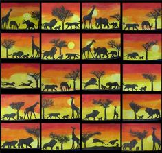 African Sunset Shadow Tracing Art - Taming Little Monsters Art Education Lessons, Art Lessons, African Art For Kids, African Art Projects, Tracing Art, Afrique Art, African Sunset, Art Club, Art Plastique
