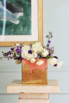 Brush stroke gold leaf vase DIY