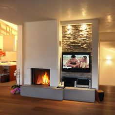 Parete camino Fireplace Tv Wall, White Fireplace, Fireplace Remodel, Modern Fireplace, Fireplace Design, Casa Top, Great Rooms, Home And Living, Home Furniture