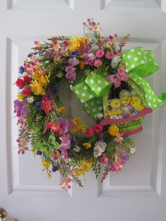 Easter Wreath Easter Basket Welcome Wreath Front by FunFlorals