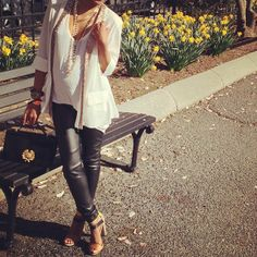 Vamp up your maternity wardrobe with sexy leather leggings.