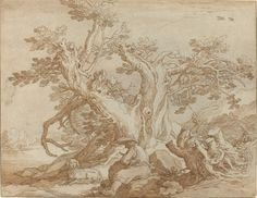Abraham Bloemaert (Dutch, 1564 - 1651); Landscape with Seated Figure and Dog, unknown date; black chalk and pen and brown ink with brown wash on brown paper; National Gallery of Art, Washington, D.C.