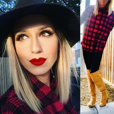 LIPS: @nyxcosmetics #mattelipstick #redlipstick #beauty #instaglam #makeuplover #makeupartist Over the knee boots: @justfabonline  flannel: @nordstrom  hat: @forever21 #boots #flannel #leggings #ootd #outfitoftheday #outfits #todayimwearing #justfab #forever21 #nordstrom #fallfashion #cozy #fashion #style #streetstyle #overtheknee