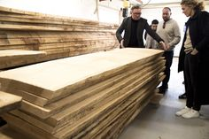 OUR FRIEND JACOB TALKS US THROUGH THE DELICATE PLANK SELECTION PROCESS FOR THE TREE TABLE