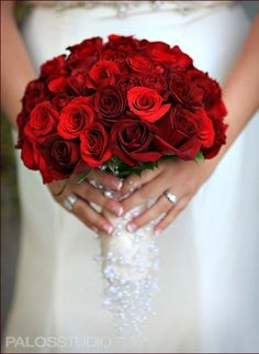 Bride's Glamorous Bouquet Arranged With: Red Roses & Pearl Bouquet Handle