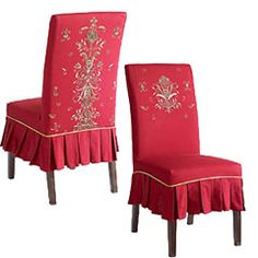 embroidered slipcover for dining chairs