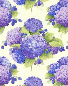 Sausalito Cottage - Hydrangeas & Berries - Lavender/Pearl