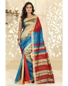 Beige Silk Cotton Saree With Blouse 66539