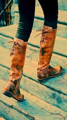 Fall Brown Leather Back Lace Long Boots