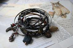 Midnight Owl Bangle Stack - fortune teller Moon Gypsy Bracelets